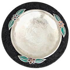"""""""Edgy,"""" Emilia Castillo Silver plate and Lava Rock Serving Bowl"""