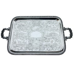 Best Ever 19thC Tea Tray, Museum Quality, Monumental Gale Coin Silver ANIMALS
