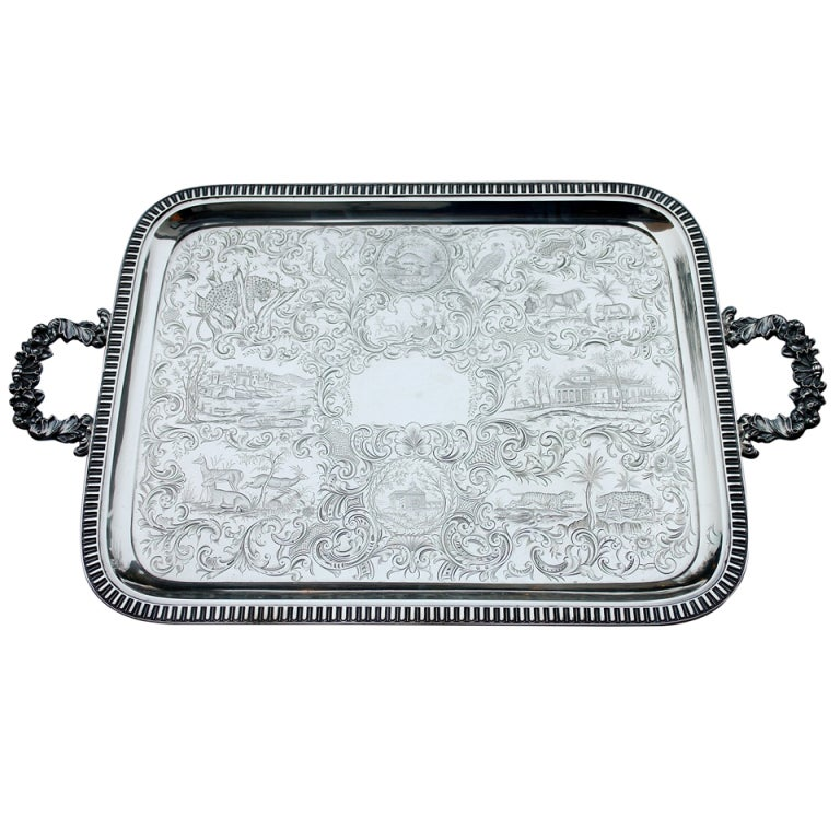 THE VERY BEST Museum Quality, Monumental Gale Coin Silver Tray MANY ANIMALS For Sale