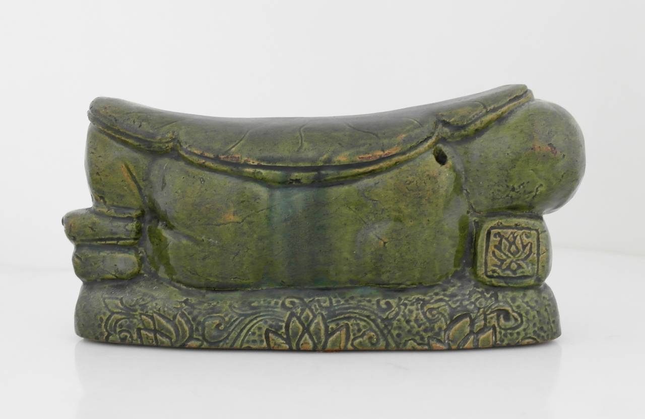 16th Century Chinese Green Terracotta Lotus Motif Pillow For Sale 1