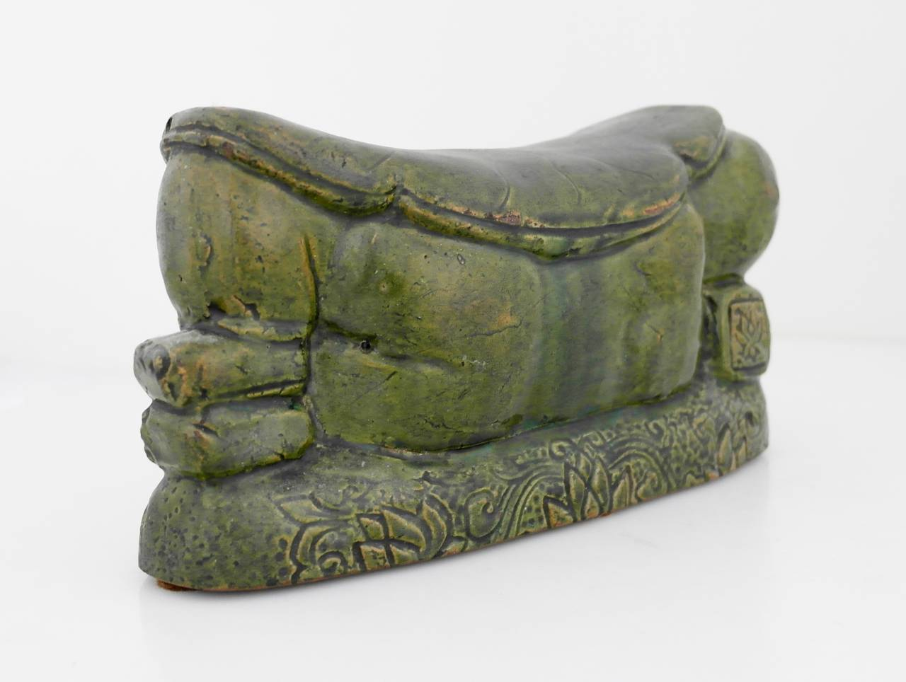 16th Century Chinese Green Terracotta Lotus Motif Pillow For Sale 2