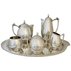 Mexican Modernist Five-Piece Coffee and Tea Service with Tray