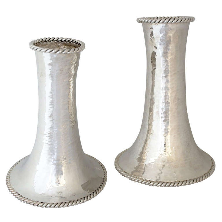 Emilia Castillo Majestic Pair of Monumental Silver Plated Vases