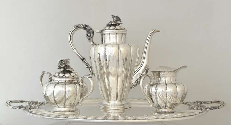 Handmade Mexican Sterling Silver Three Piece Tea Set With