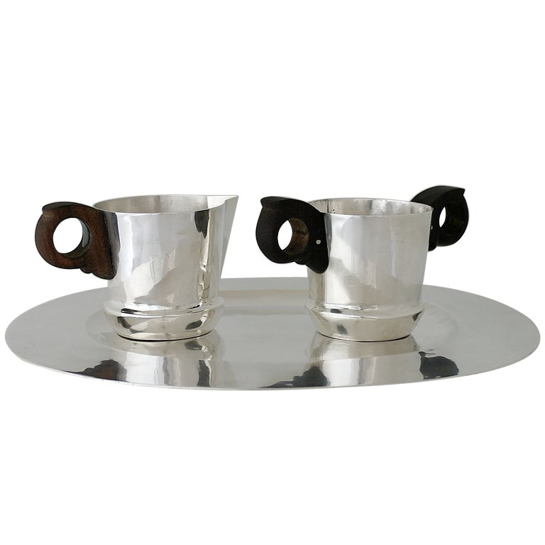 William Spratling Hand-Wrought Sterling Silver Sugar and Creamer with Tray