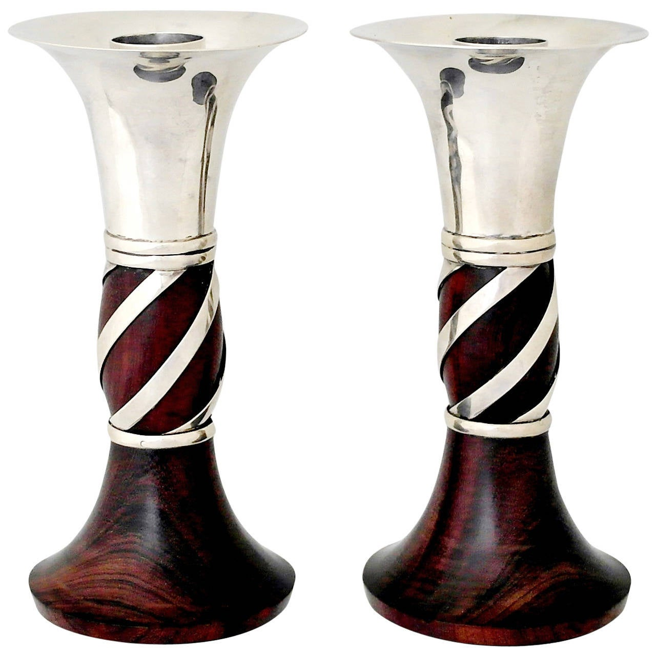 William Spratling Sterling Silver and Rosewood Candlesticks, pair 1950