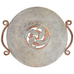 Large Emilia Castillo Taxco Large Sterling Silver & Copper Centrepiece Tray 1990