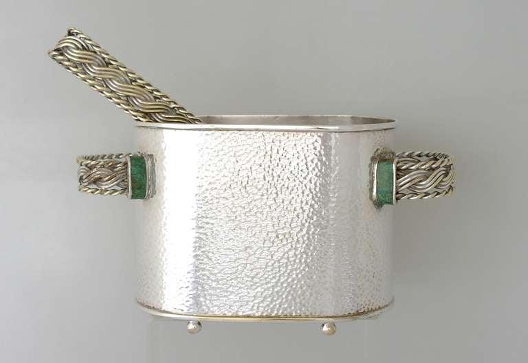 Emilia Castillo Silverplate And Malachite Ice Bucket With