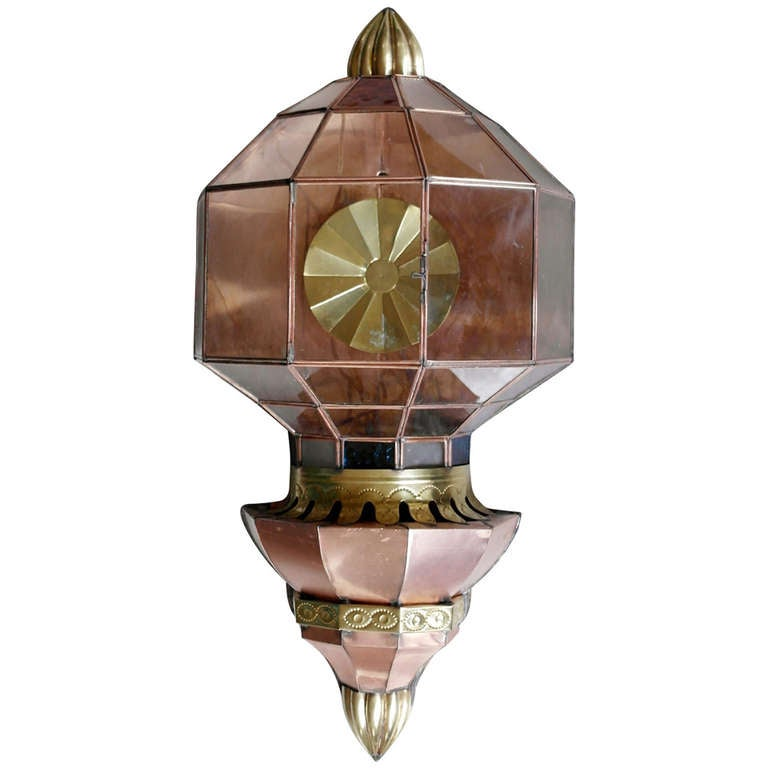 Large Vintage Mexican Copper Wall Sconce at 1stdibs