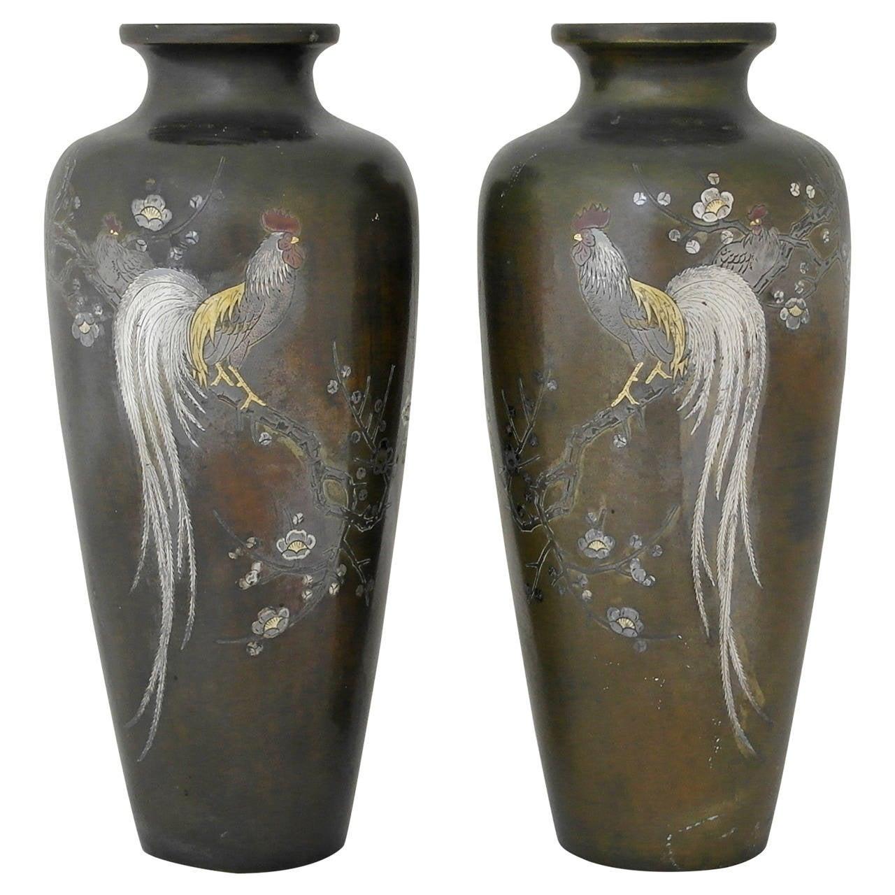 Superbgreat patina meiji period pair of japanese bronze mixed superbgreat patina meiji period pair of japanese bronze mixed metal vases 1912 for reviewsmspy