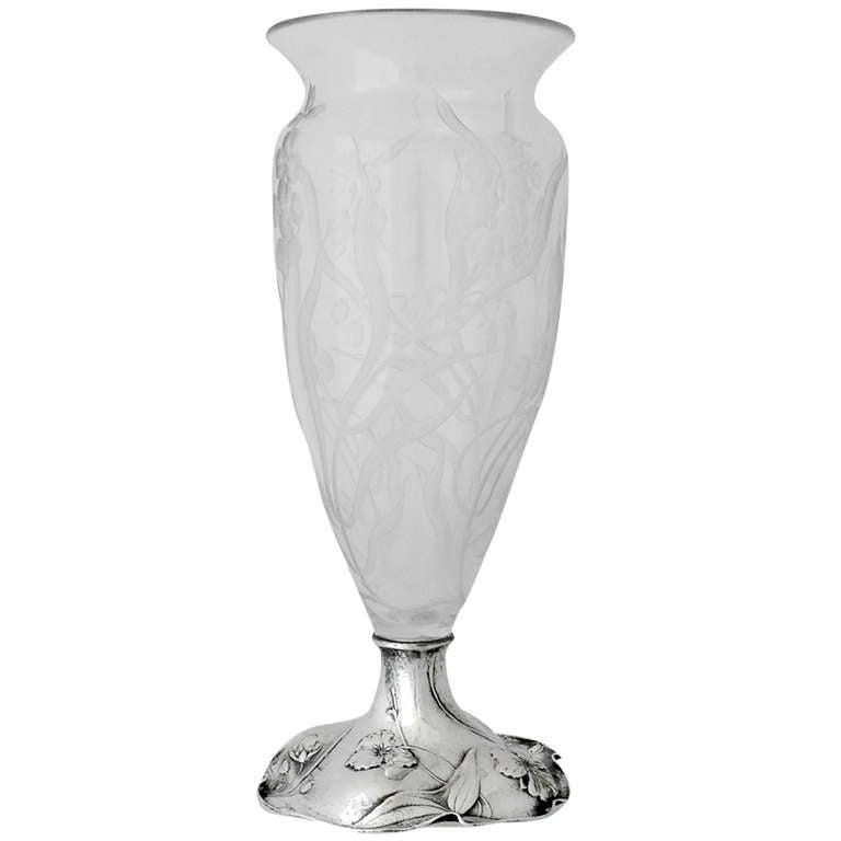 Gorham Martele Sterling Silver And Etched Glass Vase 1922 At 1stdibs