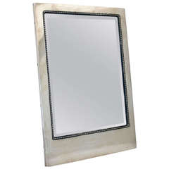 Rare Art Deco Austrian .800 Silver Framed Mirror with Beveled Glass, circa 1920