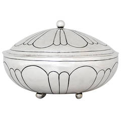 Maciel Art Deco Sterling Silver Serving Bowl with Lid and Ladle