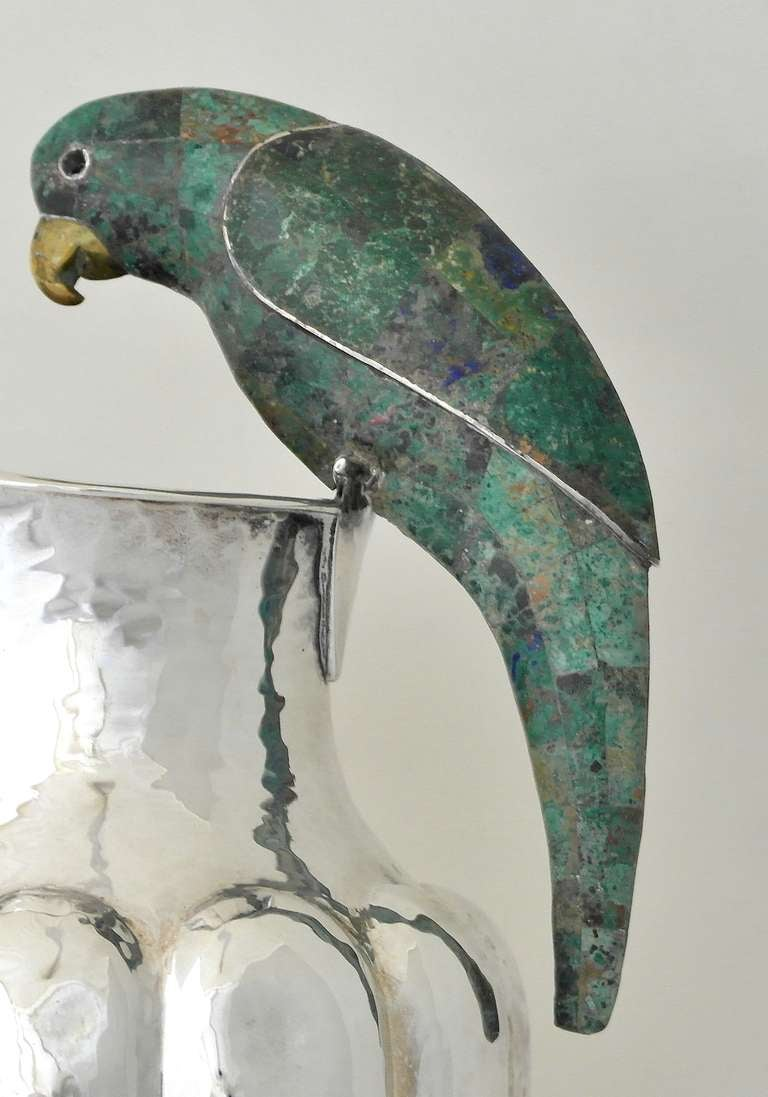 Los Castillo Silverplate Parrot Handle Pitcher At 1stdibs