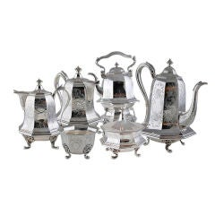 RARE, MUSEUM QUALITY Chinoiserie Coffe Tea Set Moore TIFFANY Coin Silver, 1845