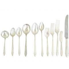 SAARINEN Dominick Haff Sterling Silver Art Deco Flatware Set 1930 SEE LARGER SET