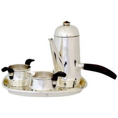 William Spratling Sterling Silver and Rosewood Espresso Set with Tray, 1950