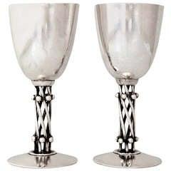 Six William Spratling Sterling Silver Pair of Stemmed Cocktail Goblets