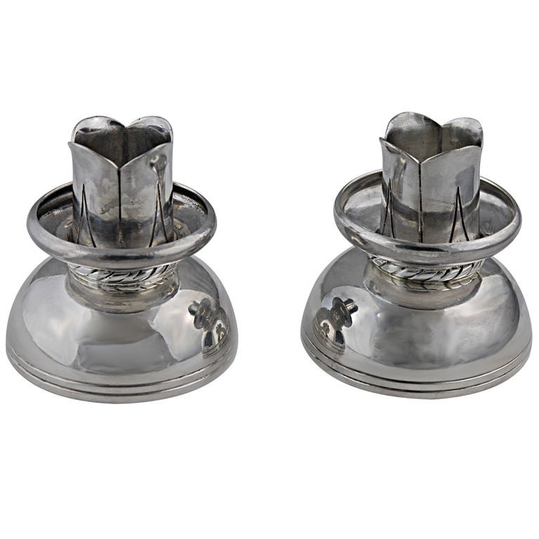 Spratling Sterling Silver Rope Motif Candlesticks, 1950