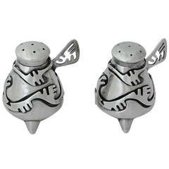 Salvador Teran Taxco Sterling Silver Salt & Pepper Shakers, 1955