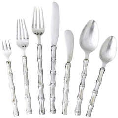 Janna Thomas, Taxco Sterling Silver Flatware Set for Eight