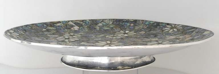 Los Castillo Taxco Silverplate And Abalone Centerpiece