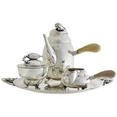 William DeMatteo Sterling Silver Three-Piece Tea Set and Tray
