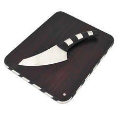 William Spratling Sterling Silver and Rosewood Cheese Board with Knife