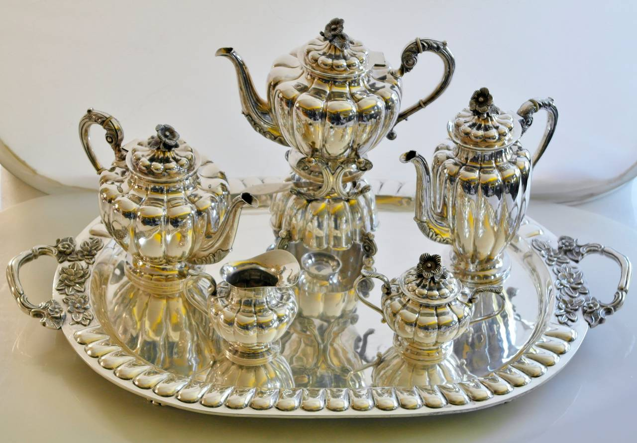 Large Sanborns Sterling Silver Five Piece Tea And Coffee