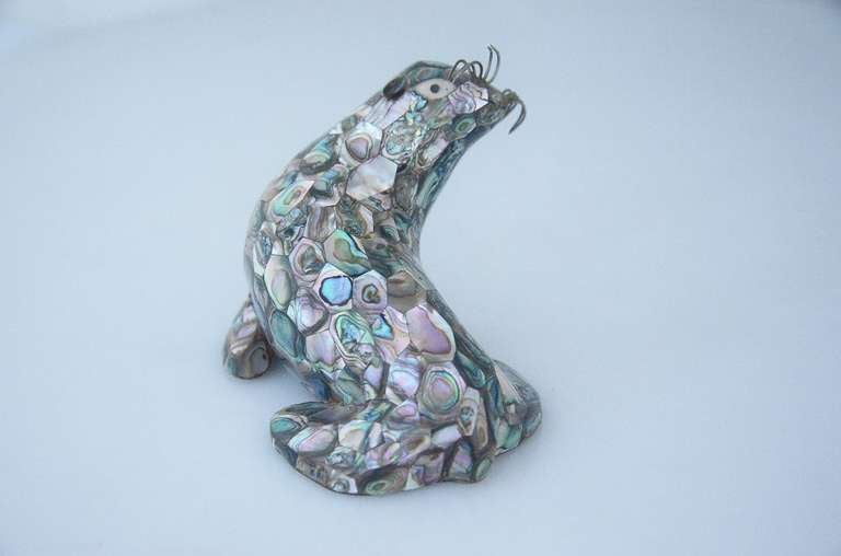 Mexican Los Castillo Silverplate Abalone Figural Seal For Sale
