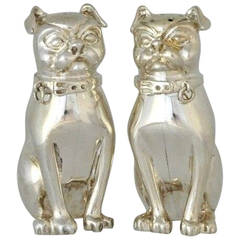 Charming English Sterling Silver Figural Pugs Salt and Pepper Shakers