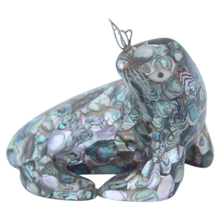 Los Castillo Silverplate Abalone Figural Seal For Sale
