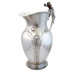 Wood & Hughes 1870 Sterling Silver Water Pitcher w/3-D Cherub