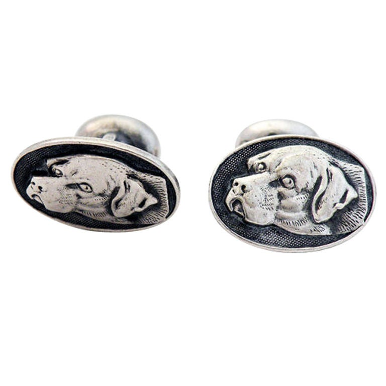 Sterling Silver Hunting - Hound Dog Cufflinks Raised Profile 1
