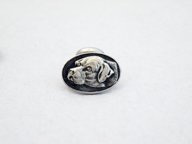Sterling Silver Hunting - Hound Dog Cufflinks Raised Profile 3