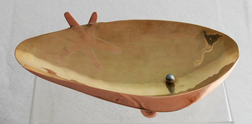 Los Castillo Silver Brass Copper Handwrought Clam Shell Bowl 3