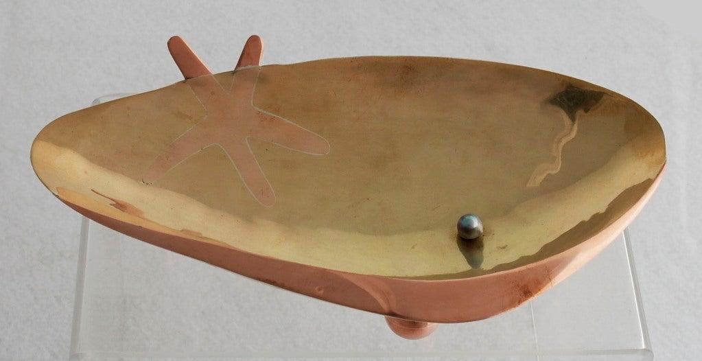 Los Castillo Silver Brass Copper Handwrought Clam Shell Bowl 5