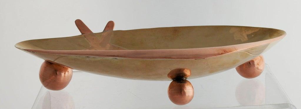 Los Castillo Silver Brass Copper Handwrought Clam Shell Bowl 6