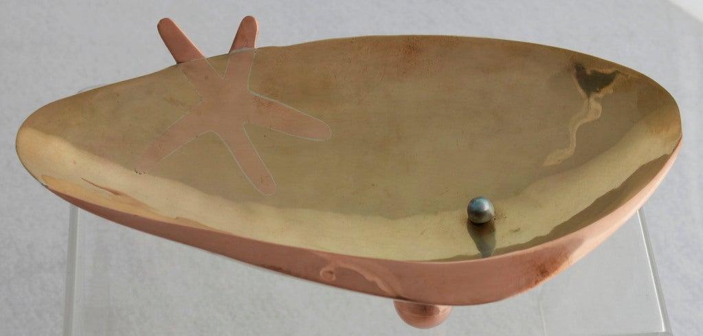 Los Castillo Silver Brass Copper Handwrought Clam Shell Bowl 8