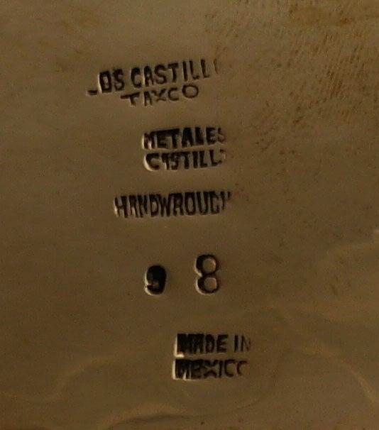 Los Castillo Silver Brass Copper Handwrought Clam Shell Bowl 9