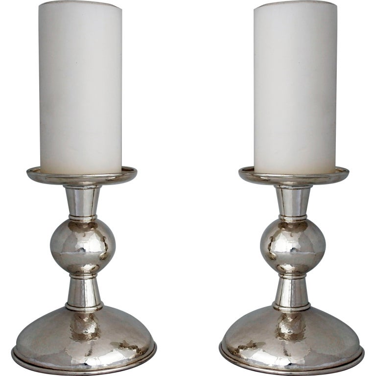 haddon hufford sterling silver hand wrought candlesticks