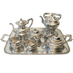 Gorham Durgin Art Deco Sterling Silver Tea & Coffee Set w/Tray
