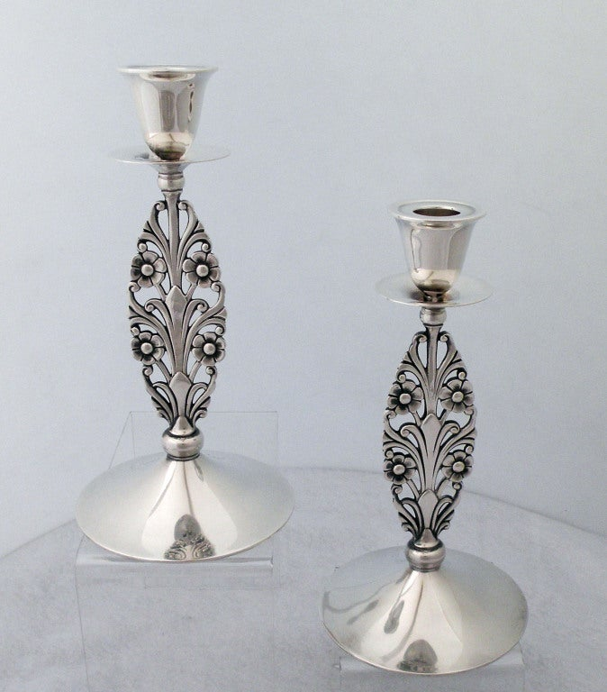 American Pair of Tiffany Sterling Silver, Floral Stemmed Candlesticks For Sale