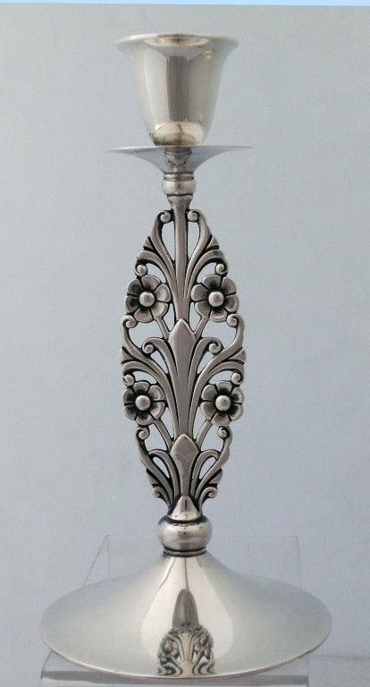 Mid-20th Century Pair of Tiffany Sterling Silver, Floral Stemmed Candlesticks For Sale