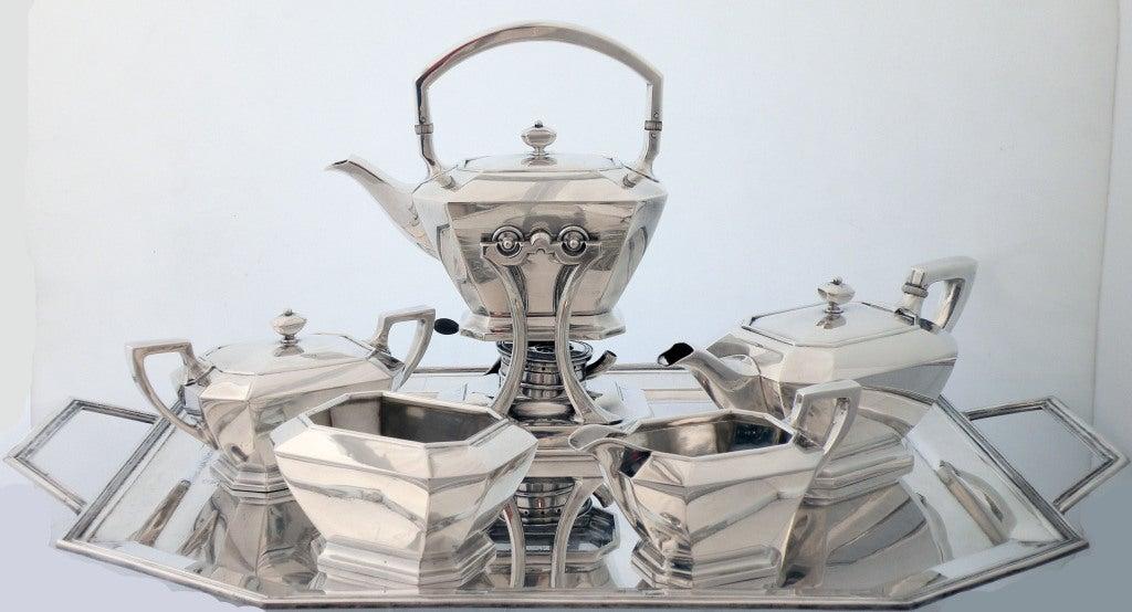 Art Deco 1929 Durgin/Gorham Sterling Silver Tea & Coffee Set 2