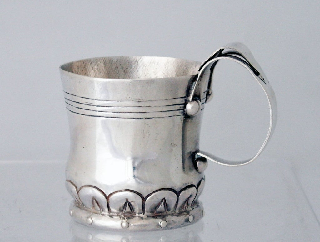 William Spratling Sterling Silver Hand Wrought Mug Double