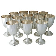 Porter Blanchard Hand Wrought Set of 12 Sterling Silver Goblets