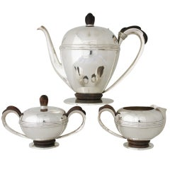 Spratling Sterling Silver & Rosewood Accented 3 Pc. Coffee Set