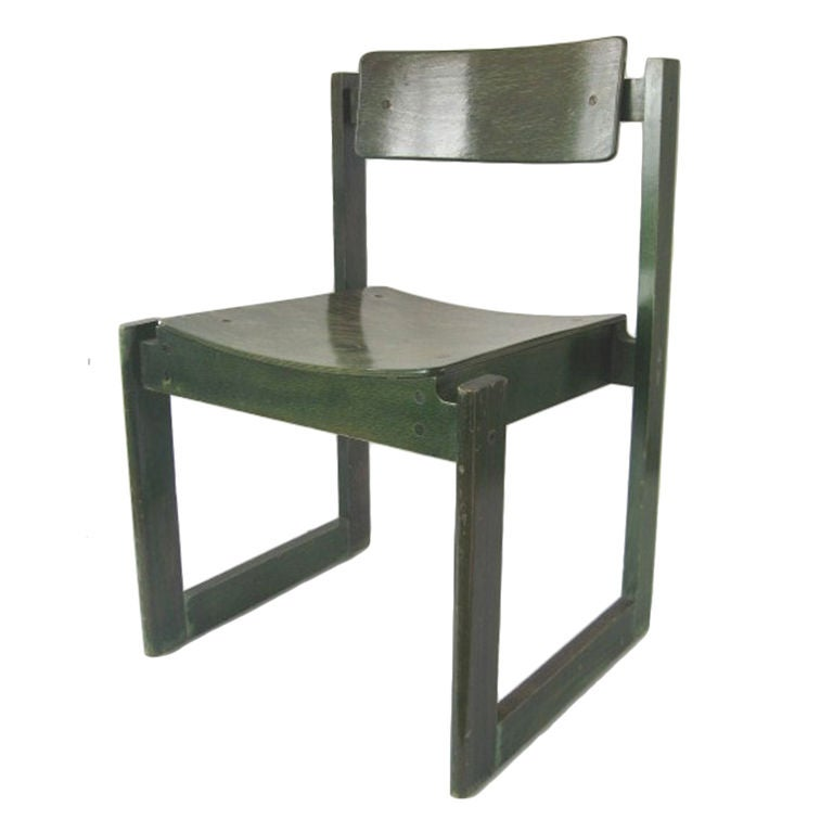 Set of 4 green stained blond wood dining chairs at 1stdibs - Green dining room furniture ...