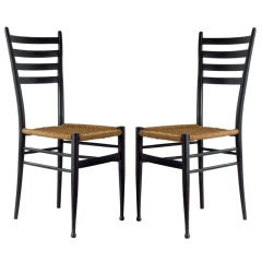 Pair of Side Chairs with Woven Seats
